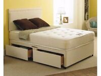 SINGLE SMALL DOUBLE 4 FT6 DOUBLE AND KING SIZE DIVAN BED WITH OPTIONAL MATTRESS DRAWERS + HEADBOARD