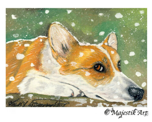"""Archival ACEO Print Corgi Puppy Dog Canine Animal Pet """"More snow"""" By V Kenworthy"""