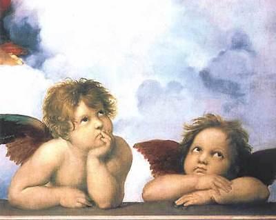 ART POSTER~Little Angels In Heaven By Raphael Raffaello Sanzio 1994 Cherub Print