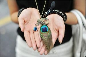 Cute-Vintage-Fashion-Blue-Eyes-Peacock-Long-Feather-Gorgeous-Necklace