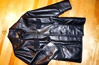 MANTEAU CUIR  NOIR  POUR FEMME MADE IN ITALY, TAILLE LARGE