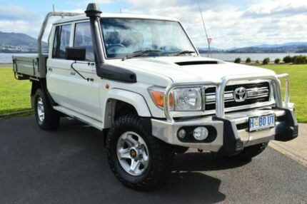 2014 Toyota Landcruiser VDJ79R MY13 GXL Double Cab White 5 Speed Manual Cab Chassis Derwent Park Glenorchy Area Preview