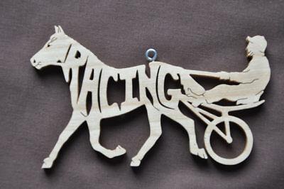 Racing Sulky Cart Horse Pony New Wood Christmas Ornament Tack Room - Cart Racing Horses