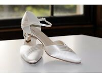 Rainbow Club Ivory Satin Wedding Shoes, UK size 5