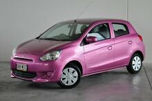 2013 Mitsubishi Mirage LA MY14 ES Pink 5 Speed Manual Hatchback Robina Gold Coast South Preview
