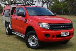 2013 Ford Ranger PX XL Super Cab 4x2 Hi-Rider Red 6 Speed Sports Automatic Cab Chassis Bundaberg West Bundaberg City Preview