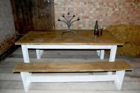 solid 5 ft dining table and benches