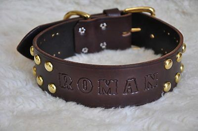 """Wide Leather Large  Dog Custom Collar Personalized 2"""" Wide w"""