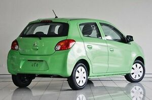 2014 Mitsubishi Mirage LA MY14 ES Green 1 Speed Constant Variable Hatchback Southport Gold Coast City Preview