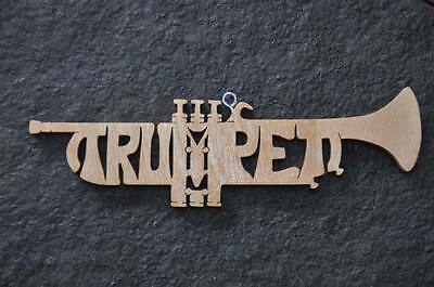 - Trumpet Band Instrument  Wood Christmas Ornament Hand Cut USA