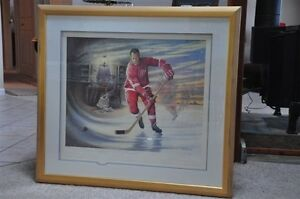 Limited Edition Numbered Gordie Howe autographed & framed print