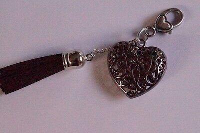 Schlüsselanhänger Taschenanhänger Herz schwarze Quaste Herzkarabiner
