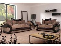 NEW DINO SOFAS 3+2 SEATER JUMBO CORD AND LEATHER GREY BLACK & BEIGE BROWN EXTRA PADDED