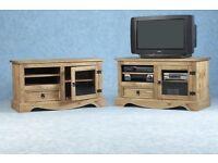 New Solid Corona Mexican pine glass door TV cabinet