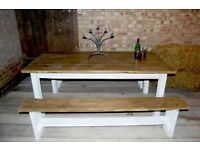solid reclaimed wood country dining table set