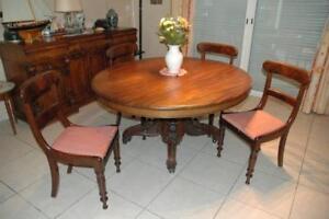 Antiquité rare - Table ronde et 4 chaises acajou – Milieu XIXème