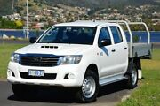 2014 Toyota Hilux KUN26R MY14 SR Double Cab White 5 Speed Automatic Cab Chassis Derwent Park Glenorchy Area Preview