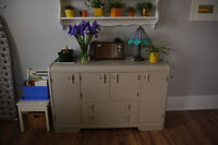 Wood hutch or dresser, painted taupe