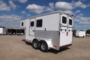 2013 Exiss gooseneck two horse slant  trailer