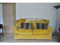 Tetrad Adelphi midi 2 seater yellow velvet sofa RRP £2500
