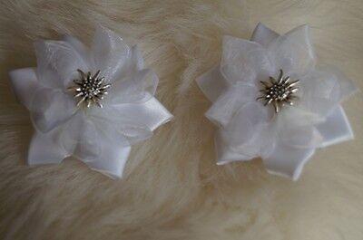 Schuhclips Satin- Organzablume Weiss ca. 5cm Trachtenschuhe Edelweiss Dirndl  ()