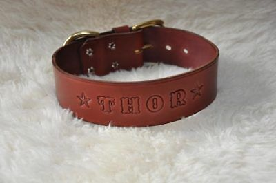 "Quality Leather Dog Custom Collar Personalized FREE  1 1/2"" Wide Hand Made"