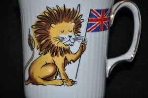 Vintage Royal Albert bone china mug - lion holding Union Jack