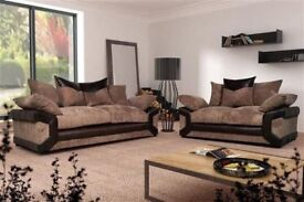 BRAND NEW BROWN BEIGE GREY OR BLACK DINO CORNER & 3 + 2 SEATER SOFA WITH CUSHIONS ORDER NOW