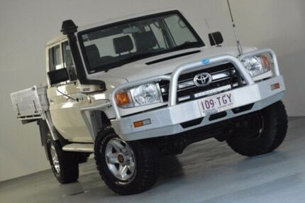 2013 Toyota Landcruiser VDJ79R MY13 GXL Double Cab White 5 Speed Manual Cab Chassis Kedron Brisbane North East Preview