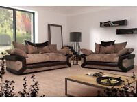Brand New Jumbo Cord Fabric Grey Or Brown Big L-Shape Corner Unit or 3+2 Sofa-Dino Sofa Set- 70% Off
