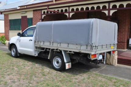 canvas canopy with awning and wall attachment for single cab ute