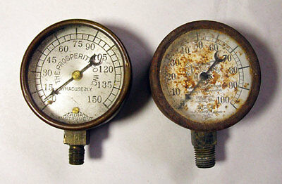 Gauges - Old Antique Vintage Pressure Air Gauge - Set Of 2 - Steampunk Art Parts