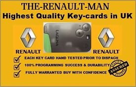 Renault laguna espace key cards supplied and programmed, cheapest in UK