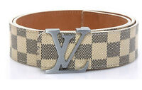 Brand New Louis Vuitton Damier White Silver Real Leather Belt