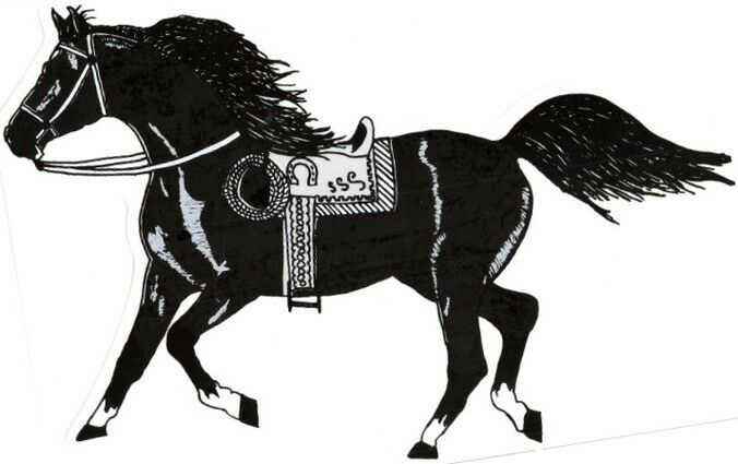 """2 - Horse Stickers With Saddle Cowboy Rope  (9"""" X 12¼"""")  Decal Vinyl   Black"""