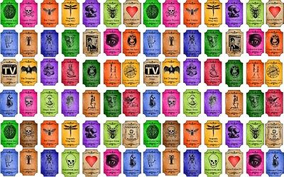 """Halloween Magic steampunk color tiny 3/4"""" bottle labels glossy stickers set 90"""
