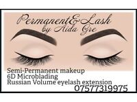 Semi-Permanent make up, 6D Microblading, Russian Volume eyelash extension