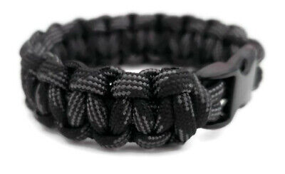 """Paracord Bracelet 550 Black Tactical 3/8"""" Buckle (Touch of Grey) Hand Made"""