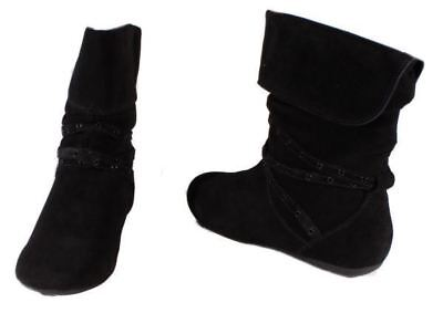 Black Synthetic Suede Footwear - Report Footwear Bethel Womens Black Suede High Ankle Boots size 8.5