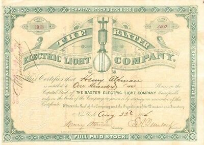 Baxter Electric Light Company - Special Price Next 48 hours!