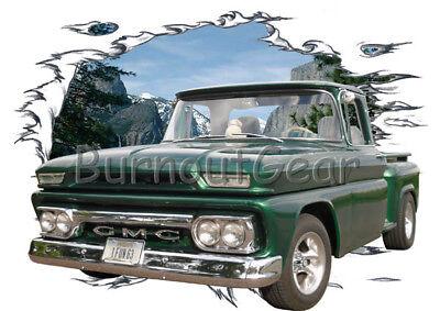 1963 Green GMC Pickup Truck c Custom Hot Rod Mountain T-Shirt 63 Muscle Car Tees