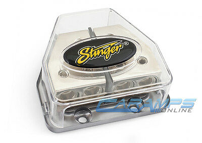 STINGER 4G/8G OUT PLATINUM DOUBLE CAR AMP DISTRIBUTION BLOCK POWER AND GROUND