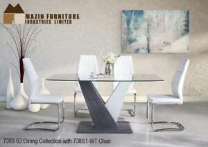 OAKVILLE GLASS TOP DINING SET WITH GREY AND WHITE WOOD BASE - ONLINE SALE CALL 905-451-8999(MA34)
