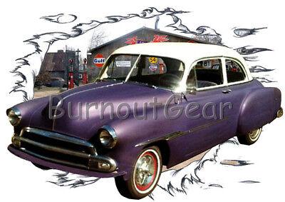 - 1951 Purple Chevy Sedan Custom Hot Rod Garage T-Shirt 51 Muscle Car Tee's