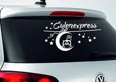 Aufkleber Auto Car Autoaufkleber Eule Uhu Comic Eulenexpress Mond Sterne 76