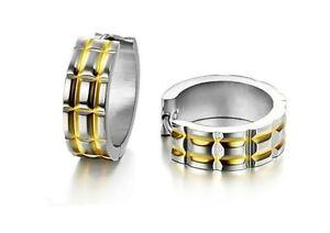 316L-Stainless-Steel-14K-Gold-GP-Striped-7mm-Hoop-Earrings-E91