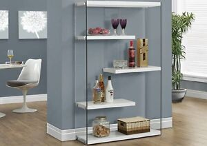 Floating  white glossy bookcase