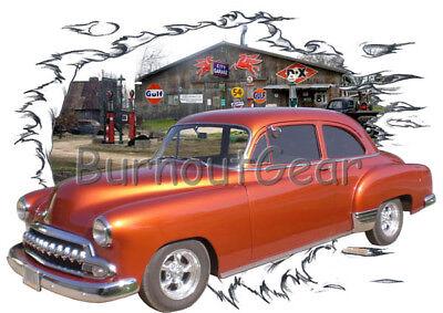 - 1951 Orange Chevy Sedan Custom Hot Rod Garage T-Shirt 51 Muscle Car Tee's
