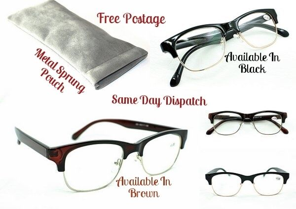 0144e8a3aafc0 Details about MT501 Clubmaster Style Reading Glasses Black & Brown frames &  Metal Sprung Pouch