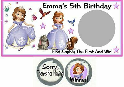 10 Sofia The First Birthday Party Scratch Off Game Card Lottery Tickets Favors